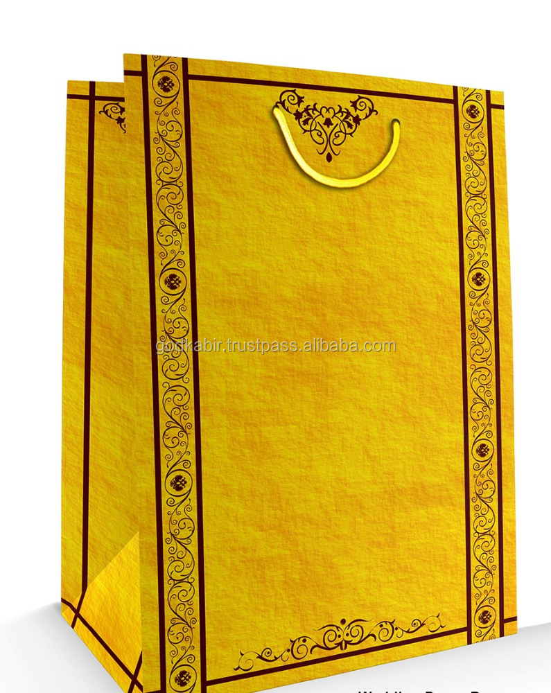 High top classy modern Fancy lemon colour Gift Bag Matte Laminated 9 inch x 13 inch x 3 inch Best quality made cotton paper bag