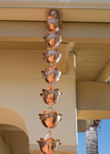 Copper Rain Chain With Flower Design Cup For Garden Decor And Gutter