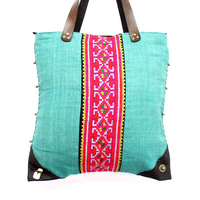 Vintage Strip Leather Corners Hemp Thai Bag - Aqua