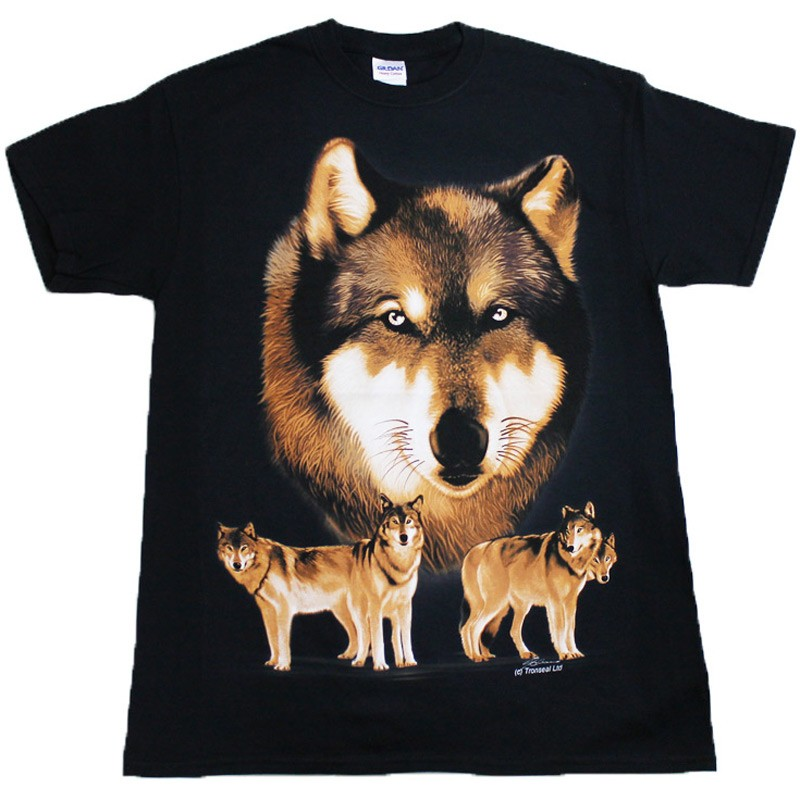 Wolf Pack Black Cotton T-Shirt Available In All Sizes