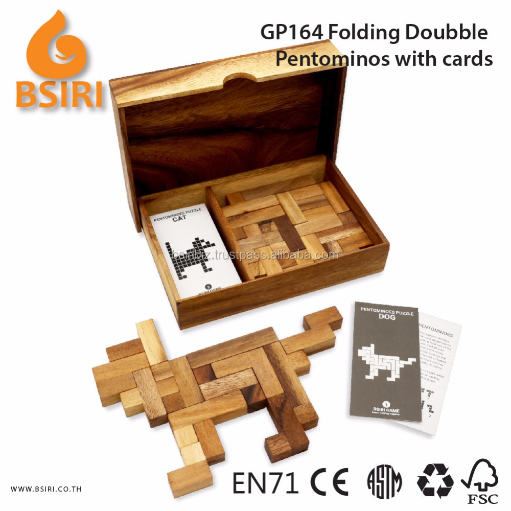 Folding Doubble Pentominoes Game with Cards Wooden Christmas Puzzles