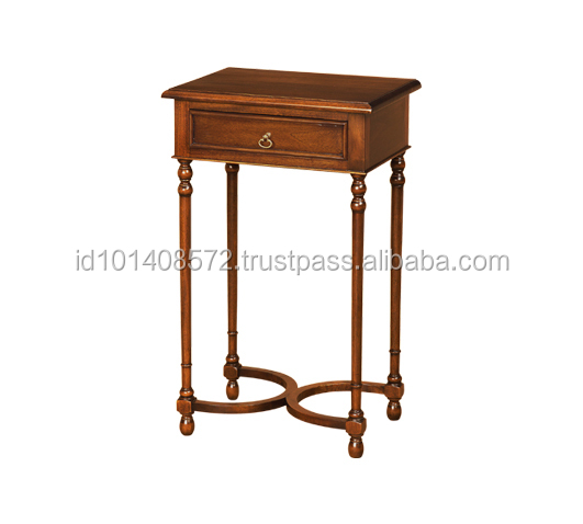 Mahogany Hall Table Stretcher Round 1 Drawer indoor Furniture.