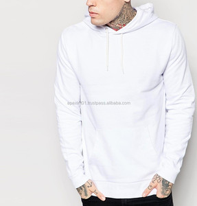 Mens Pullover plain white Elongated Hoodies-Wholesale Cheap Hoodies