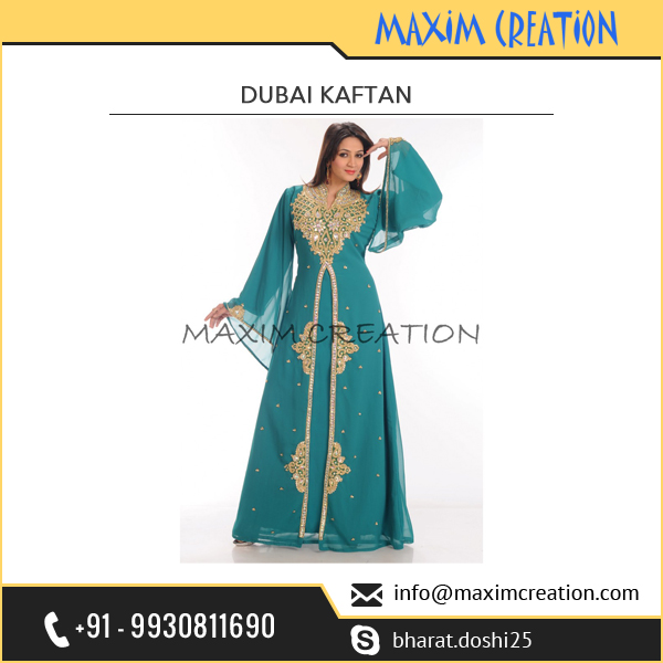 Hot Selling Caribbean Green Polyester Georgette Kaftan India