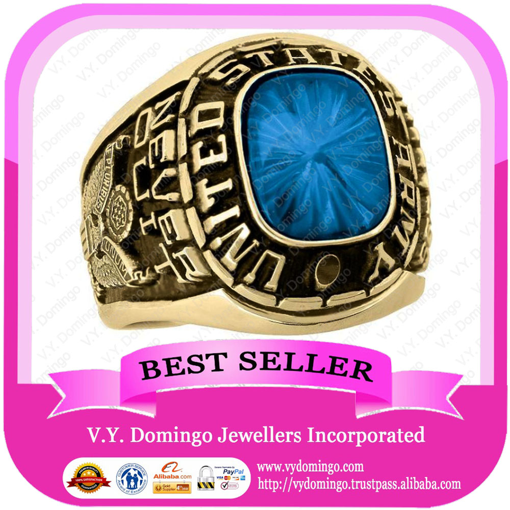 24kt Electroplated Wholesale College Ring with Blue Sapphire Stone Class Ring