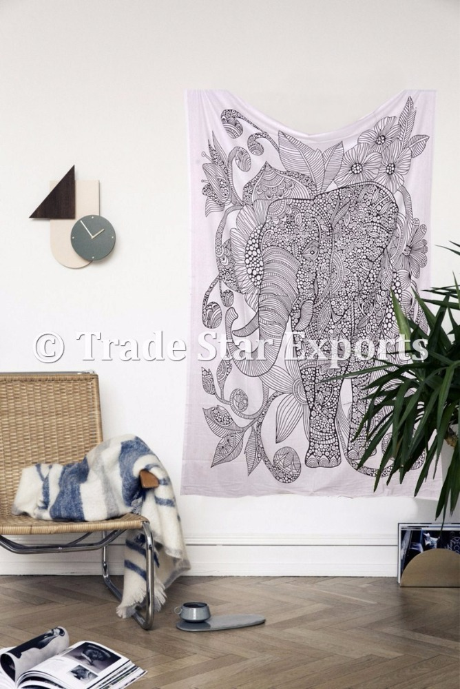 Good Luck Home Decorative Indian Ethnic Cotton Elephant With Flower Art Twin Size Wall Hanging Tapestry