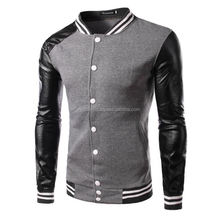 new slim fit ,baseball varsity jackets with, leather sleeves ,Cotton made