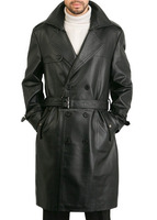 Classic Custom Black Cowhide Leather Long Trench Coat