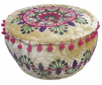 SUZANI TRADITIONAL COTTON HANDMADE ROUND OTTOMAN SEAT INDIAN VALVATE EMBROIDERY POUF FOOTSTOOL FOR KIDS