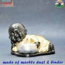 Poly resin baby monk Buddha statue tea light candle holder