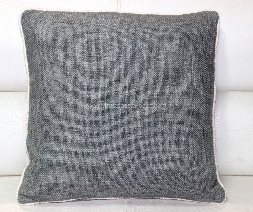 Weaved Heavy Cotton - Linen look Dark Gray Cushion with Off White Pieping - 18 inch sq.