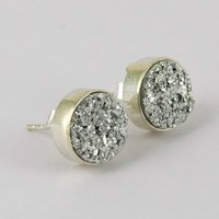 Inspire Push Lock Titanium Druzy Earring !! Factory Direct Sale 925 Sterling Silver Jewelry India , Brightfull Silver Jewelry