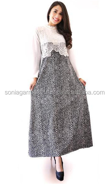 Hot latest design islamic laced gamis abaya maxi dress long dress