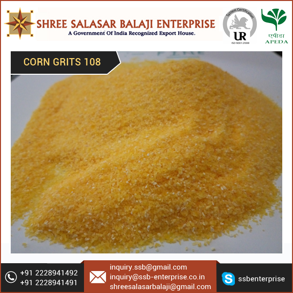 Locally Grown and Conventionally Processes Yellow Corn Grits 108 for Sale