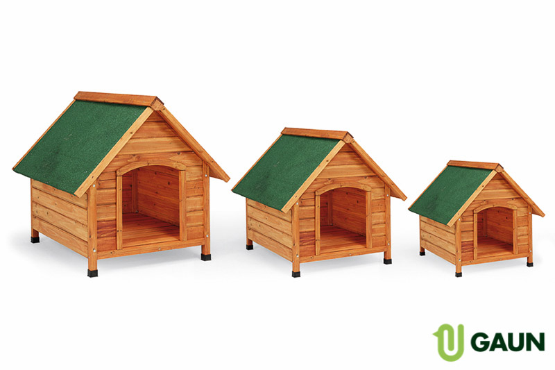Wooden kennel sloping roof. Large