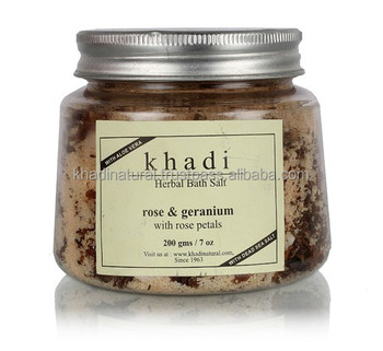Khadi Natural Herbal Rose Geranium With Rose Petals Bath Salt