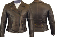 Womens Motorcycle Biker Brown Leather Jacket Motorbike Outdoor casual Wears