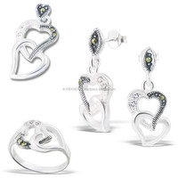 Heart Shape Dangle Stud Earring, Wiggle Pendant and Fashion Ring Jewelry Set 925 Sterling Silver Marcasite Gemstones Jewellery