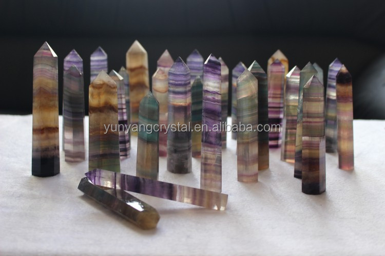 Natural Raw Rainbow Fluorite Crystal Points Polished Healing Crystal Points