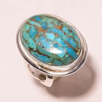 Copper blue turquoise gemstone .925 sterling silver ring, Whaolesale silver jewelry supplier, fashion big Turquoise ring online