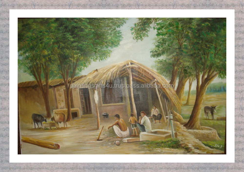 Village scenery painting / pictures canvas village scenery drawing