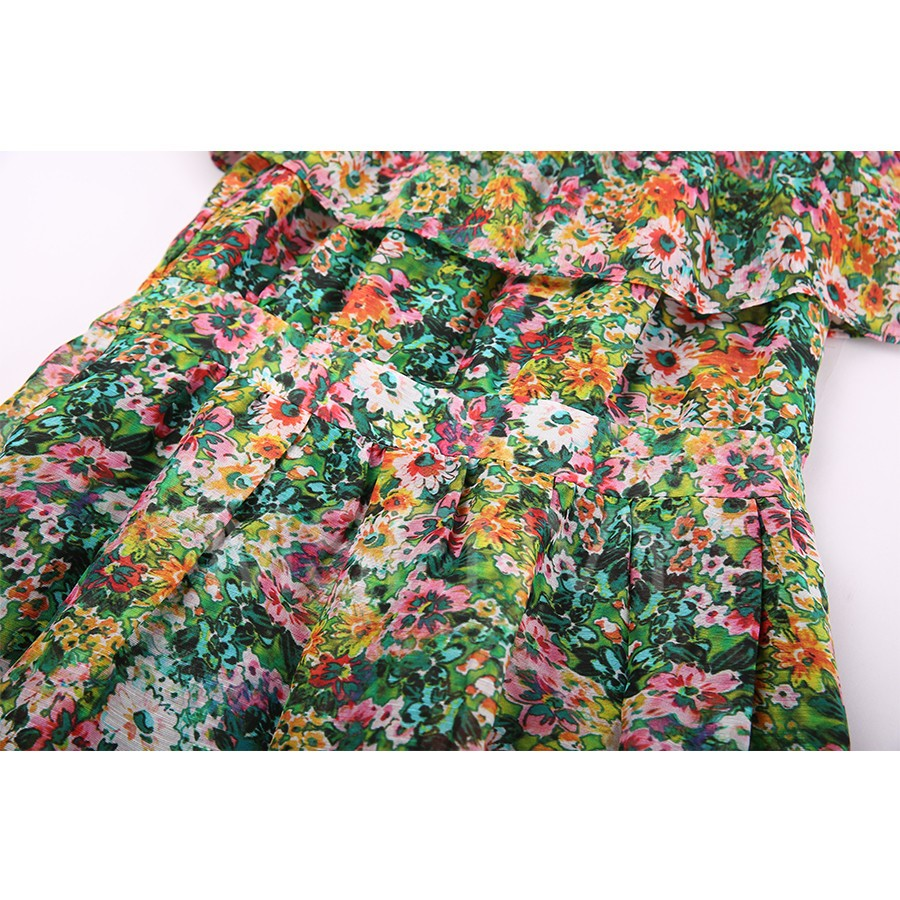 Summer Woman Floral Digital Printed Silk Linen Woman Dress