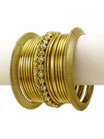 "collection of bangles ""15pcs Gold tone Bracelet Ethnic Indian Traditional Bangles Set Women Jewellery 2*4 """