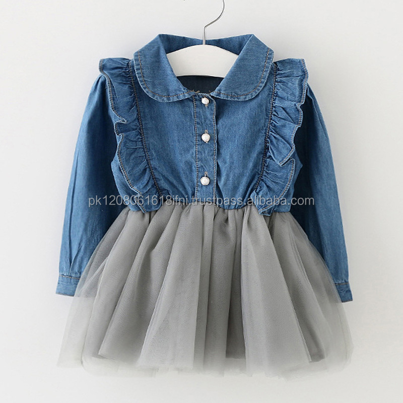 Beautiful kids dress for baby girls 1 piece jeans top and net frill bottom skirt