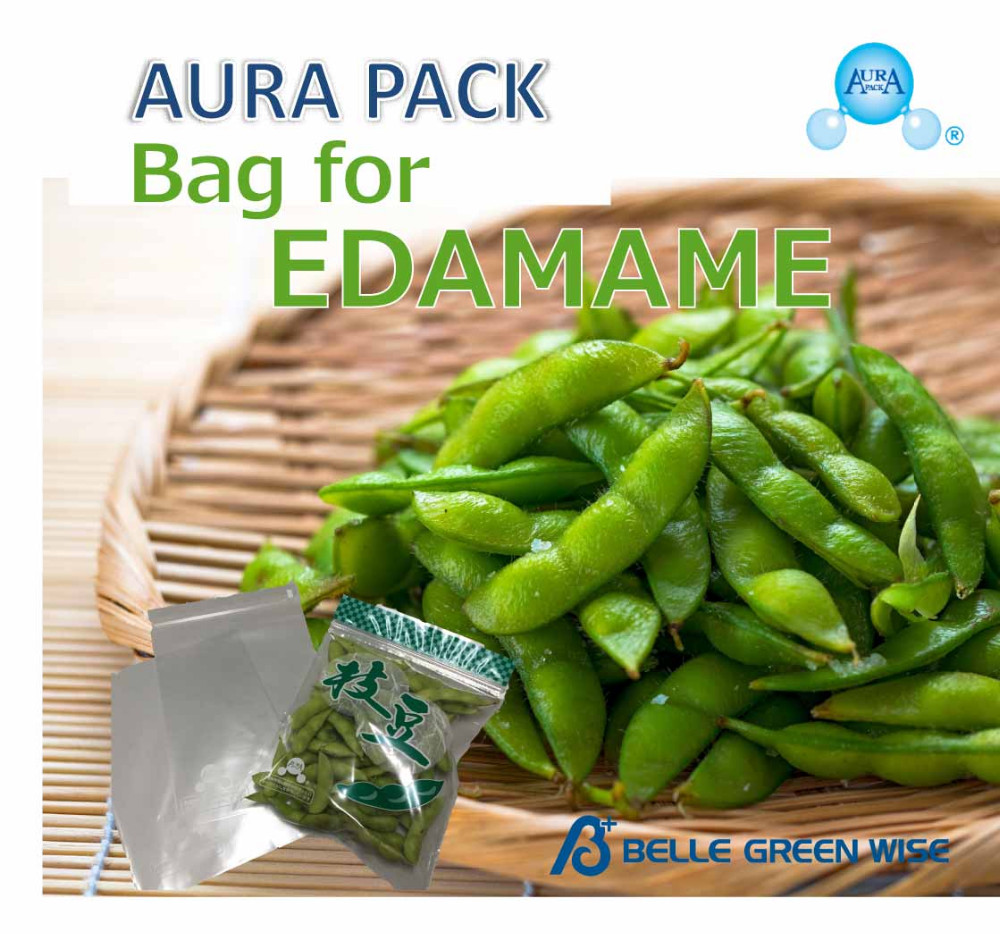 Transparent and anti-fogging Frozen Green Soybeans packaging bag at reasonable prices , instruction movie available