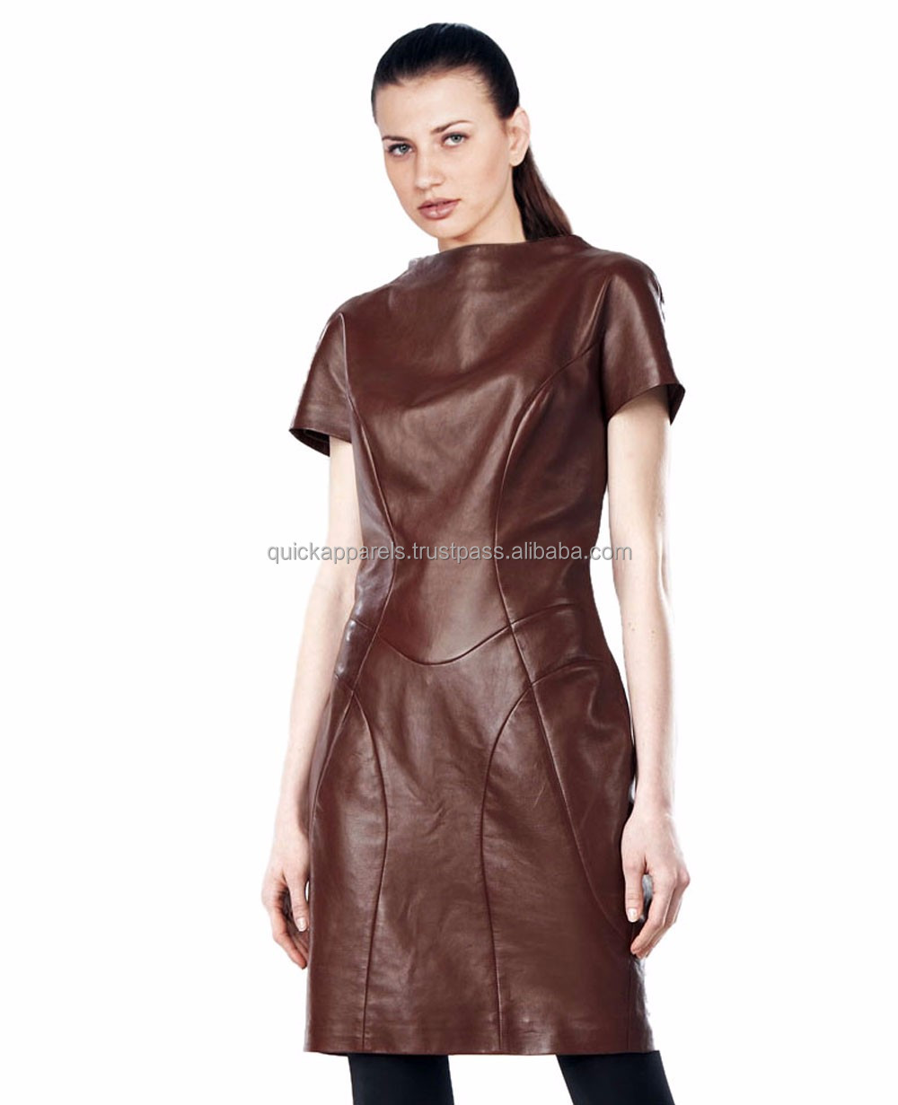 tan Fashion for women wear leather dress /leather hot wear/stylish leather women