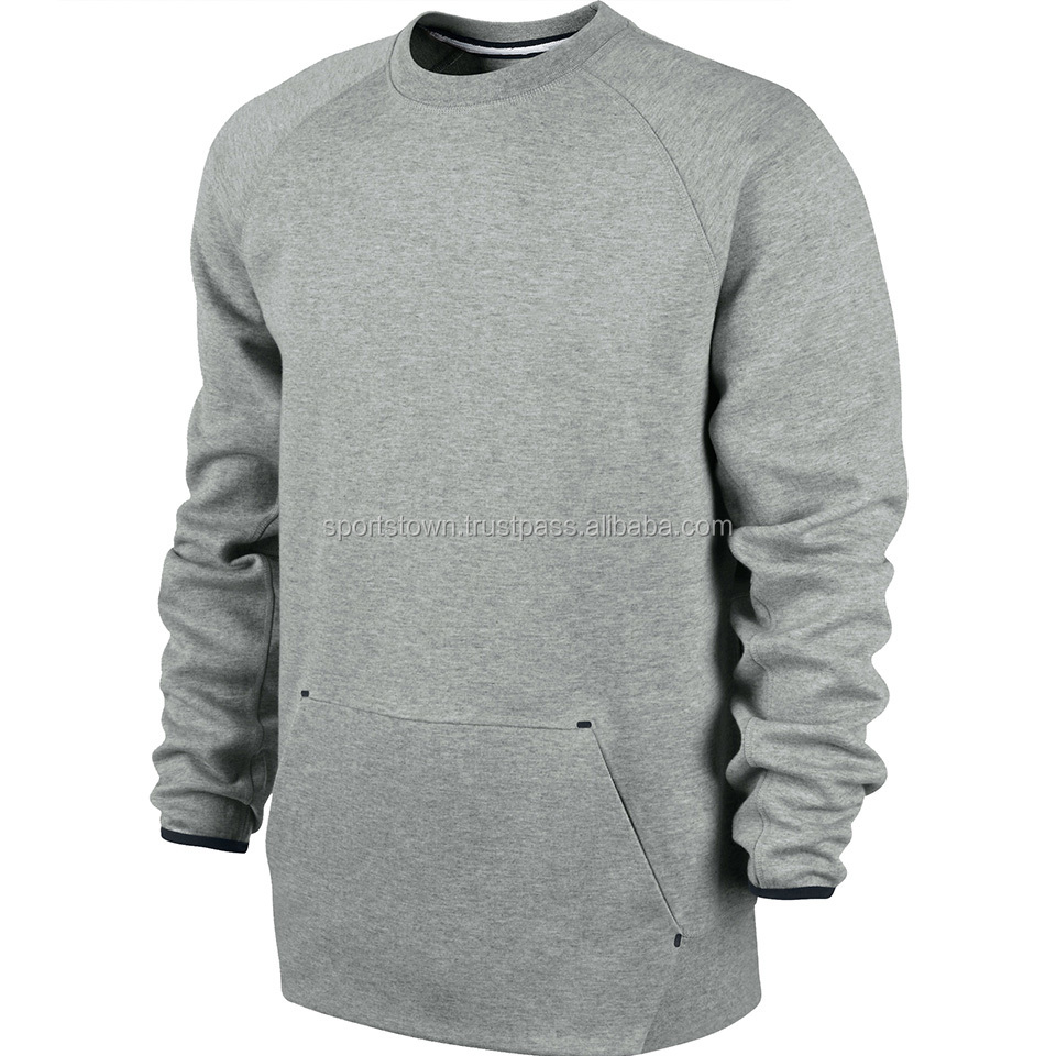 2015 New Wholesale men's french terry crewneck hoodie sweatshirt with kangaroo pockets