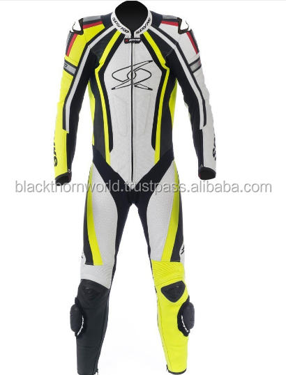 Motorcycle & Auto racing high grain leather Suit, with fast fastening zip CE Protectors, OEM/ODM, Kangroo and cowhide availble