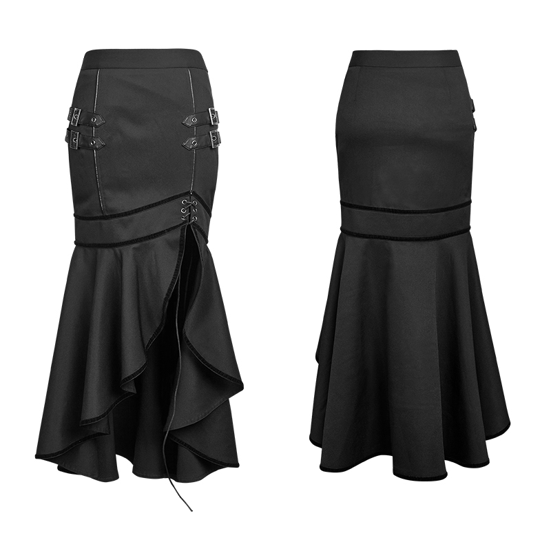 Q-293 Punk Rave Women's military uniform black asymmetrical fishtail skirt