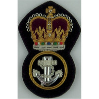 Royal Navy Petty Officer Roped Anchor Crown Queen's Crown. Bullion wire-embroidered Naval cap badge or cap tally