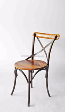 Cross Back Wood Vintage Industrial Chair