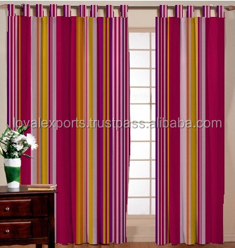 Indian Made Cotton Stripe Curtain / Door Cotton Stripe Curtain / Round Metal Sliding Stripe Curtain / Blind Cotton Curtain