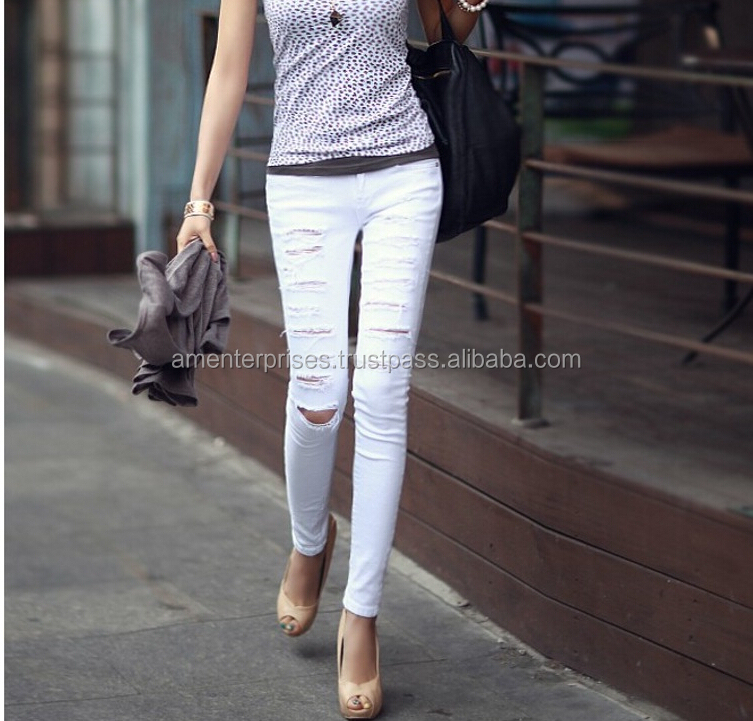 2016 NEW women ladies denim white cargo pants hot northmore trouser pants fashion latest new design