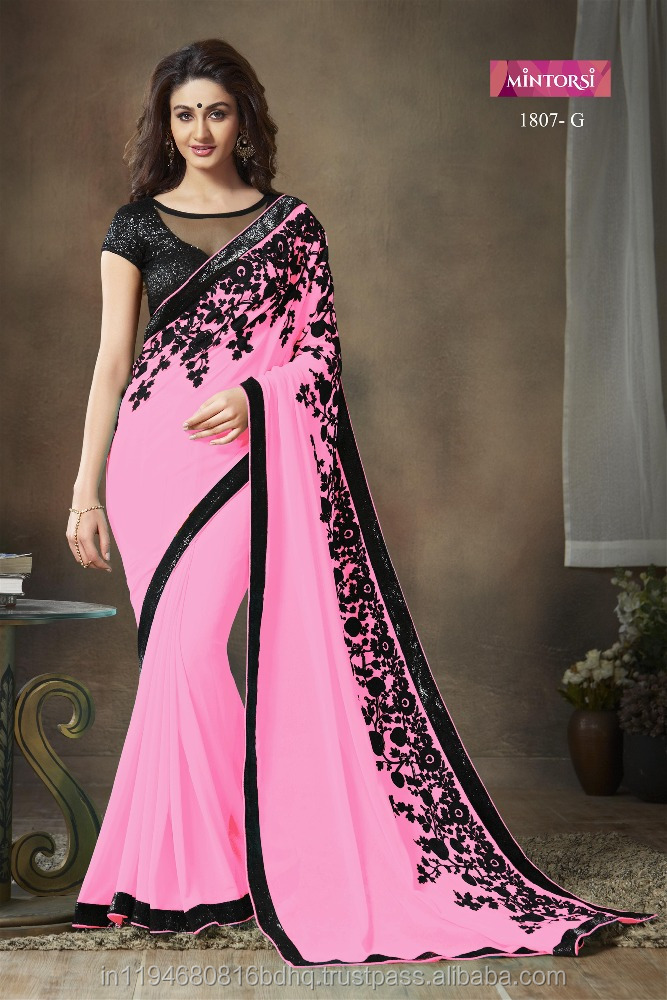 Indian Designer Plain Georgette Saree Heavy Zari Work Border with Embroidery Work Silk Blouse