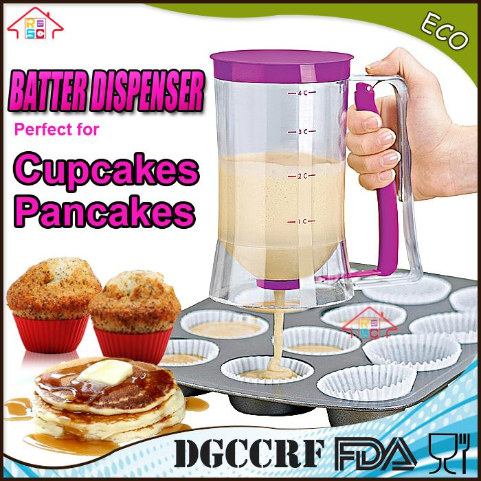 Kitchen Plastic 2-In-1 Cupcake Batter Dispenser Hand Food Cake Dough Mixer Cup