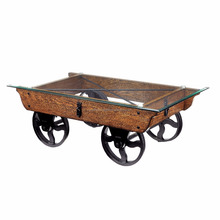 Furniture from India Charlotte Rustic Glass Top Coffee Table,Industrial cart coffee table
