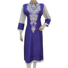 Rayon Embroidered Patchwork Top Full Sleeves Long Kurti Women Dress Size M CKL2349