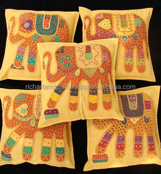 "16"" ELEPHANT PATCHWORK DECORATIVE PILLOW CUSHION COVER Throw Ethnic Art Decor India"