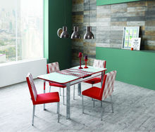 1+6 Extendable Red Modern design glass dining table and chairs