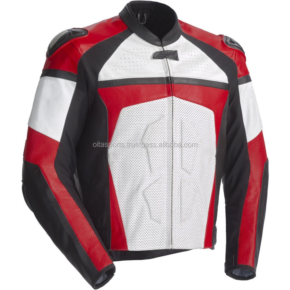 street jackets men leather white/red