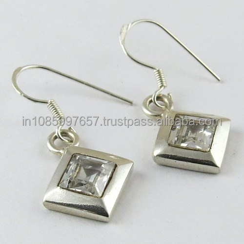 Charming White CZ 925 Sterling Silver Earrings, Cheap Silver Jewelry, Exporters & Suppliers
