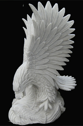 Vietnam Hand Carved Large Stone Eagle Statues