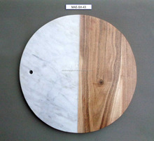 Wooden and marble made cheese or pizza plate