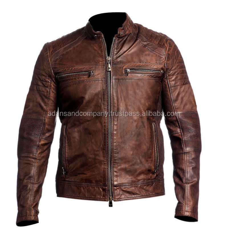 Mens Biker Vintage Motorcycle Distressed Brown leather Cafe Racer Jacket