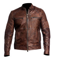 Vintage Style Distressed Brown Leather Jacket