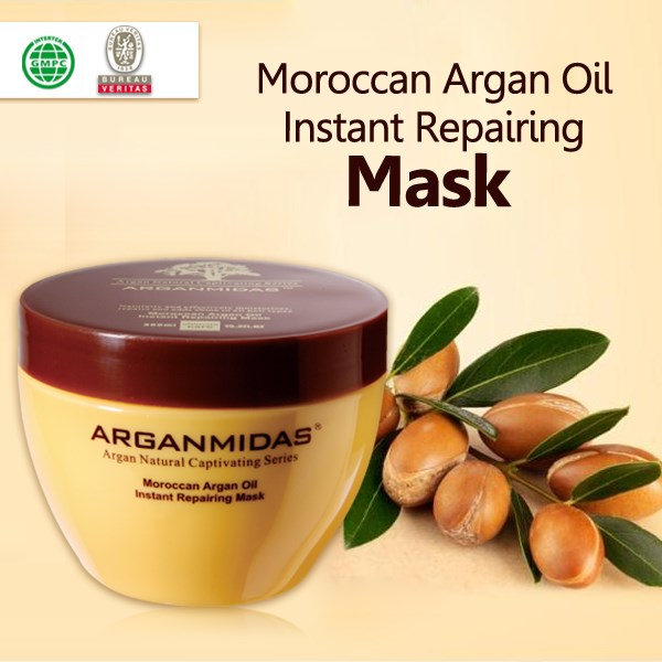 Organic herbal cosmetics argan oil extract nourishing hair mask